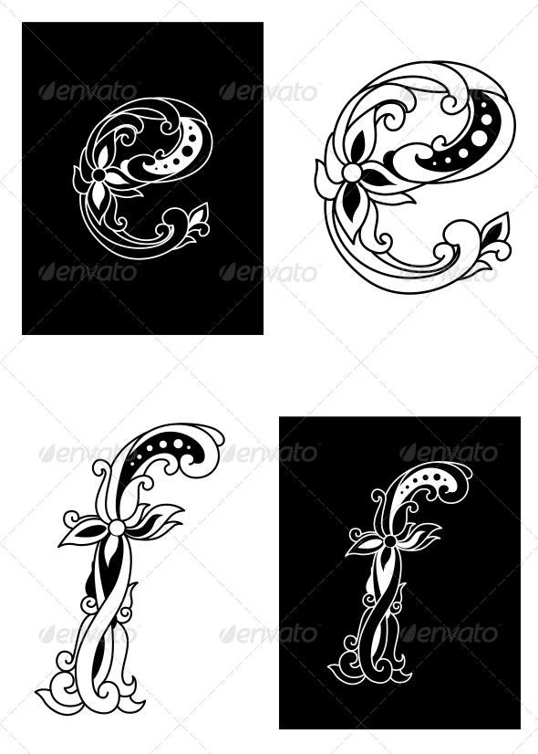 GraphicRiver Letters E and F in Retro Floral Style 5105019