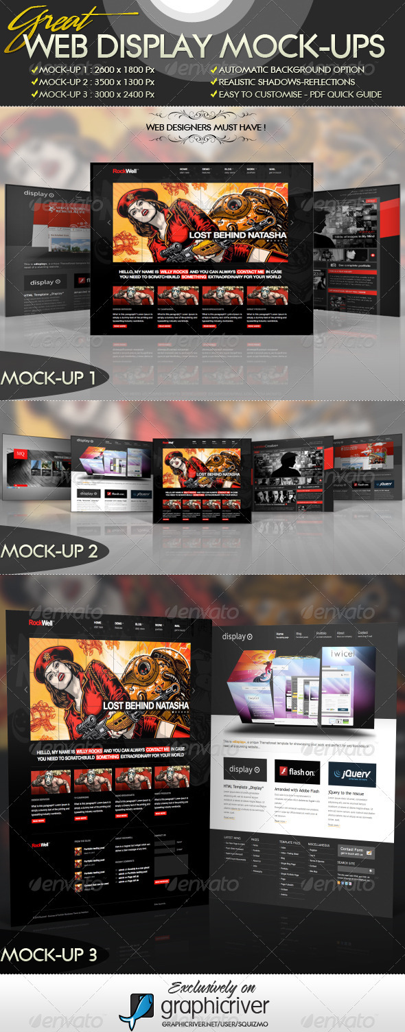 Great Web Display Mock-Ups  - Website Displays