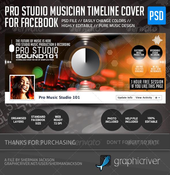 GraphicRiver Pro Studio Musician Facebook Cover 5105945