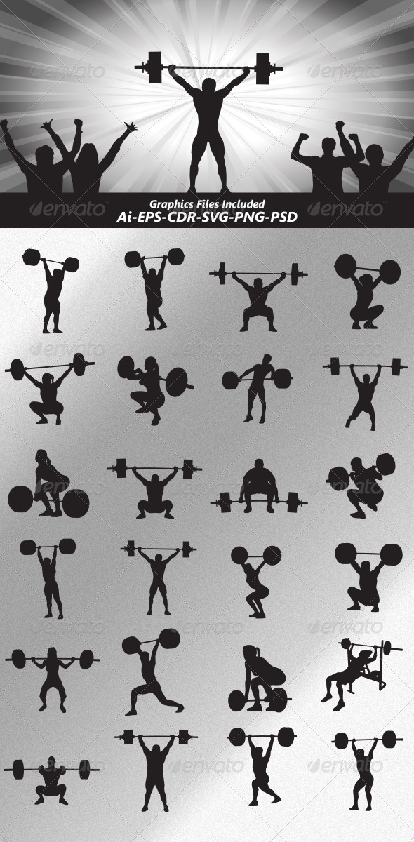 GraphicRiver Weightlifter Silhouettes 5105946