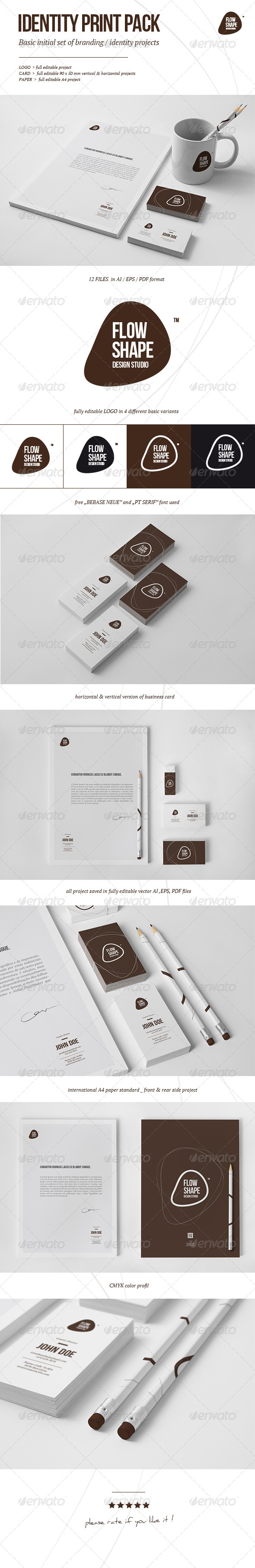 Flow Shape Branding Print Pack - Stationery Print Templates