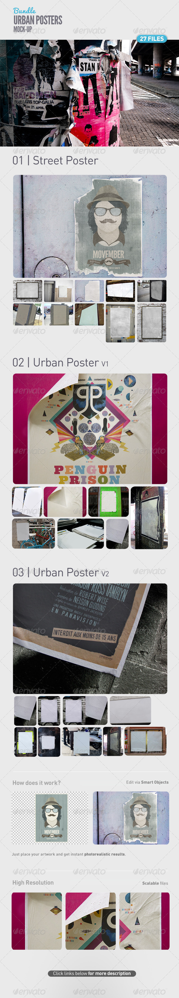 GraphicRiver Urban Poster Mock-Up Bundle 5106494