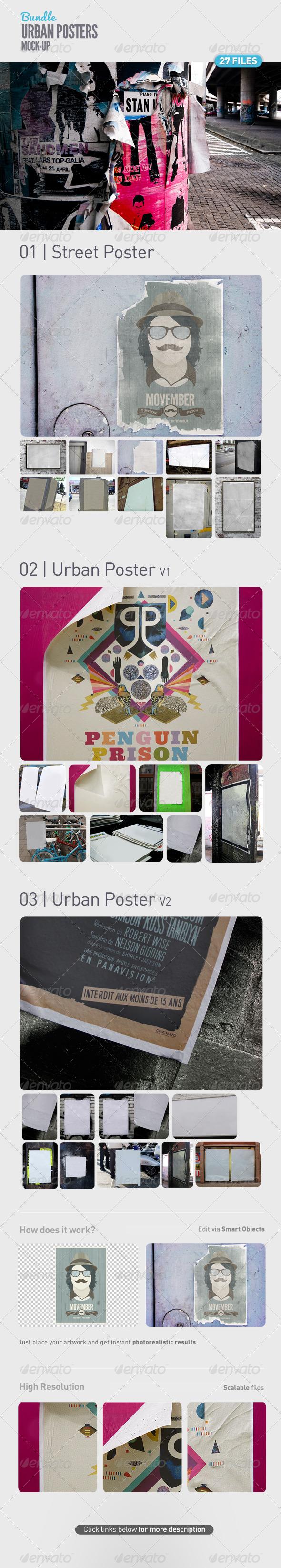 Urban Poster Mock-Up Bundle - Posters Print
