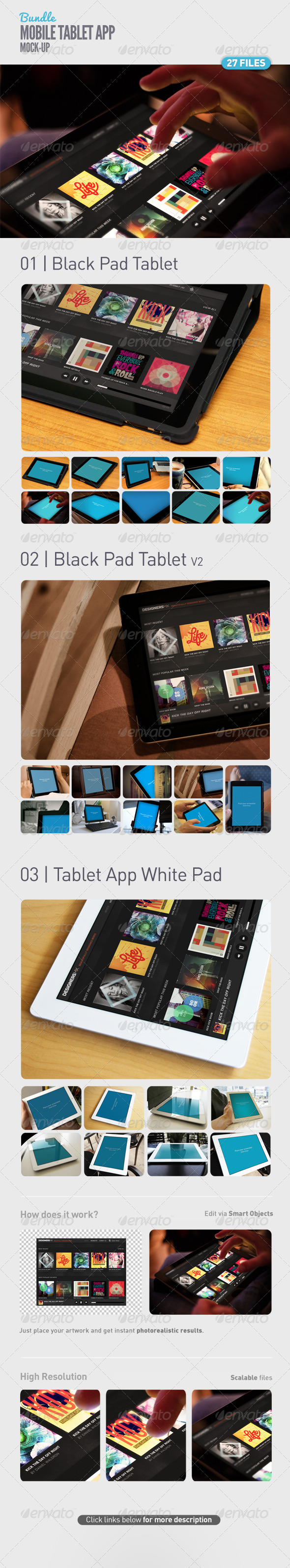 Pad | Tablet App UI Mock-Up Bundle - Product Mock-Ups Graphics