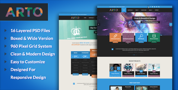 ThemeForest Arto A Flat & Responsive Multipurpose Theme 5061742
