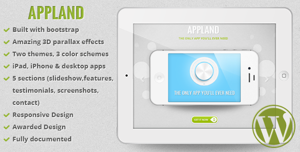 ThemeForest AppLand Parallax App Landing Wordpress Theme 5101199