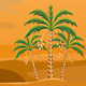 Vector of a desert landscape with the palm trees - GraphicRiver Item for Sale