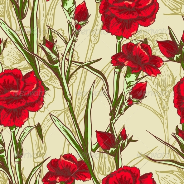 GraphicRiver Seamless Floral Background with Carnation 5107863