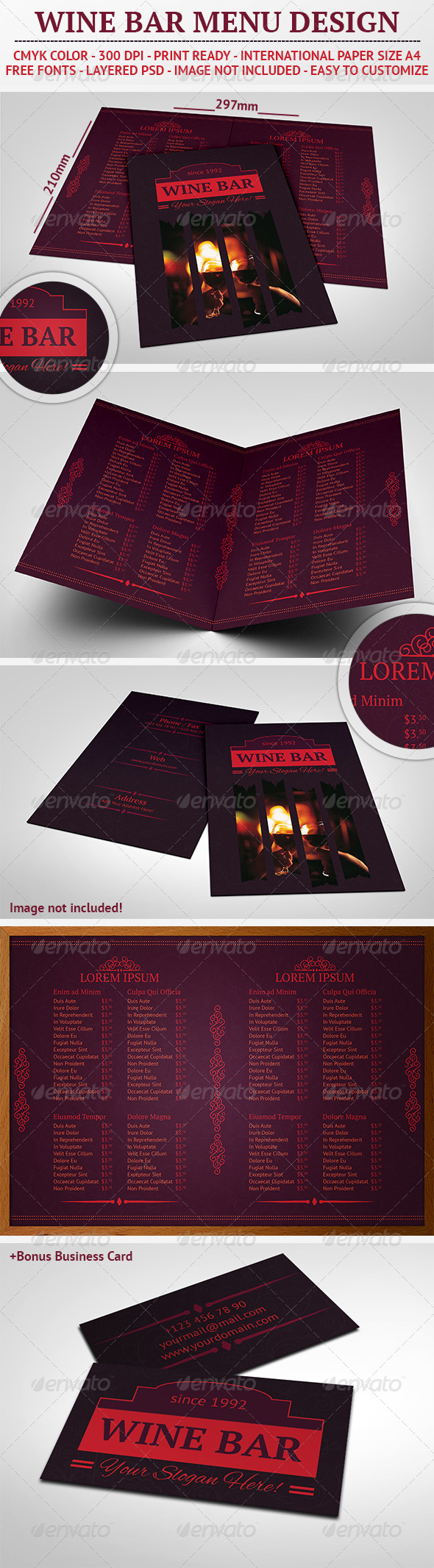 GraphicRiver Wine Bar Menu Design 5108026