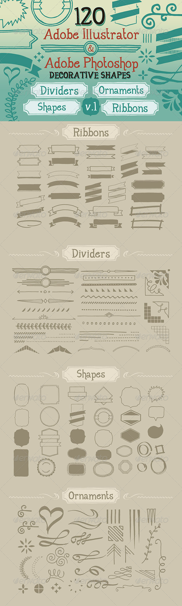 GraphicRiver 120 Handwritten Decorative Shapes 01 5108077