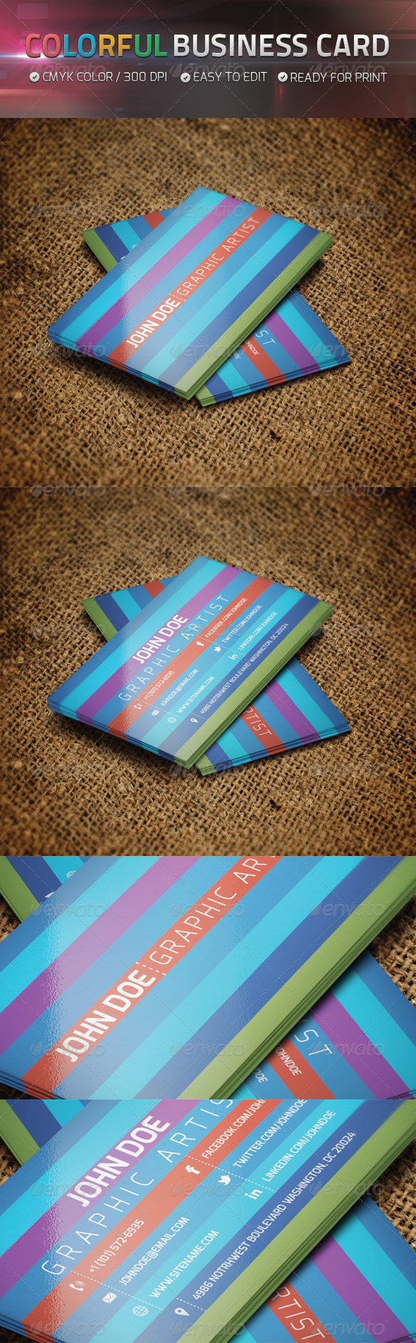 Colorful Business Card V5 - Business Cards Print Templates