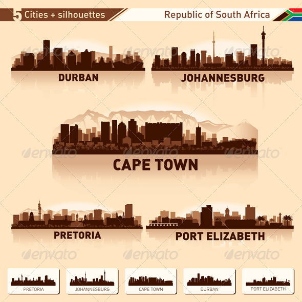 GraphicRiver City Skyline Set South Africa Vector Silhouettes 5108814