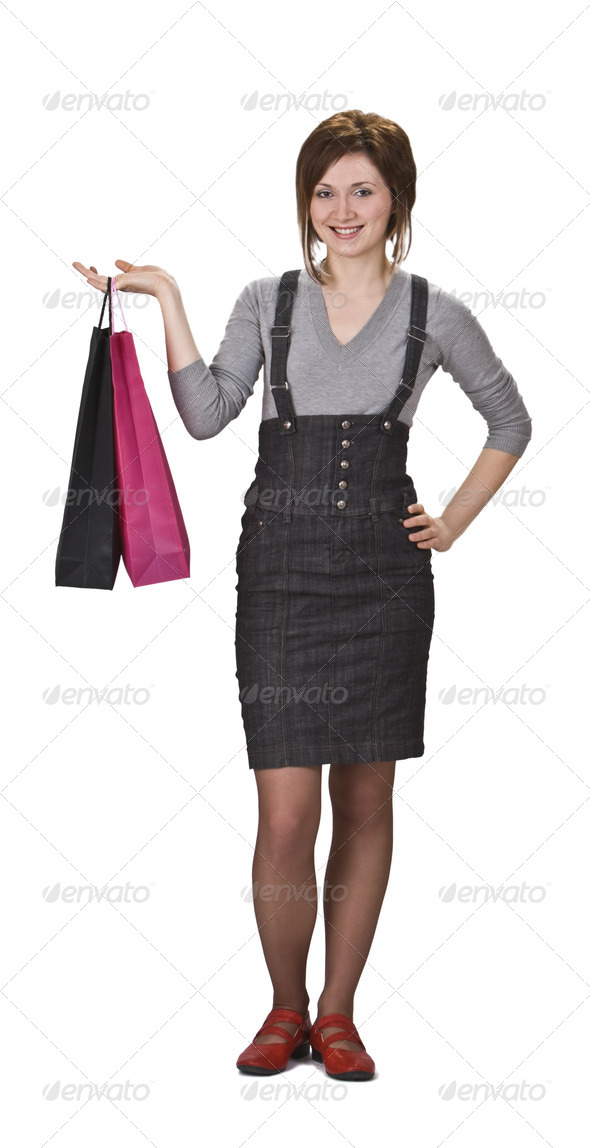 Woman with Shopping Bags  - Stock Photo - Images