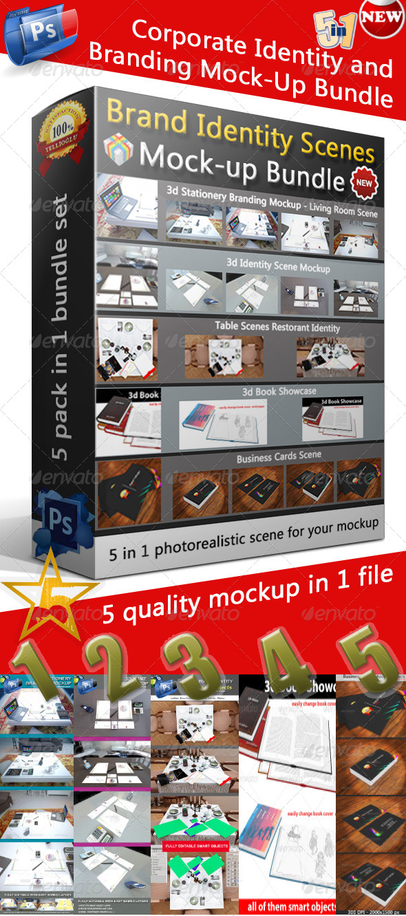 GraphicRiver Corporate Identity and Branding Mock-Up Bundle 5092397