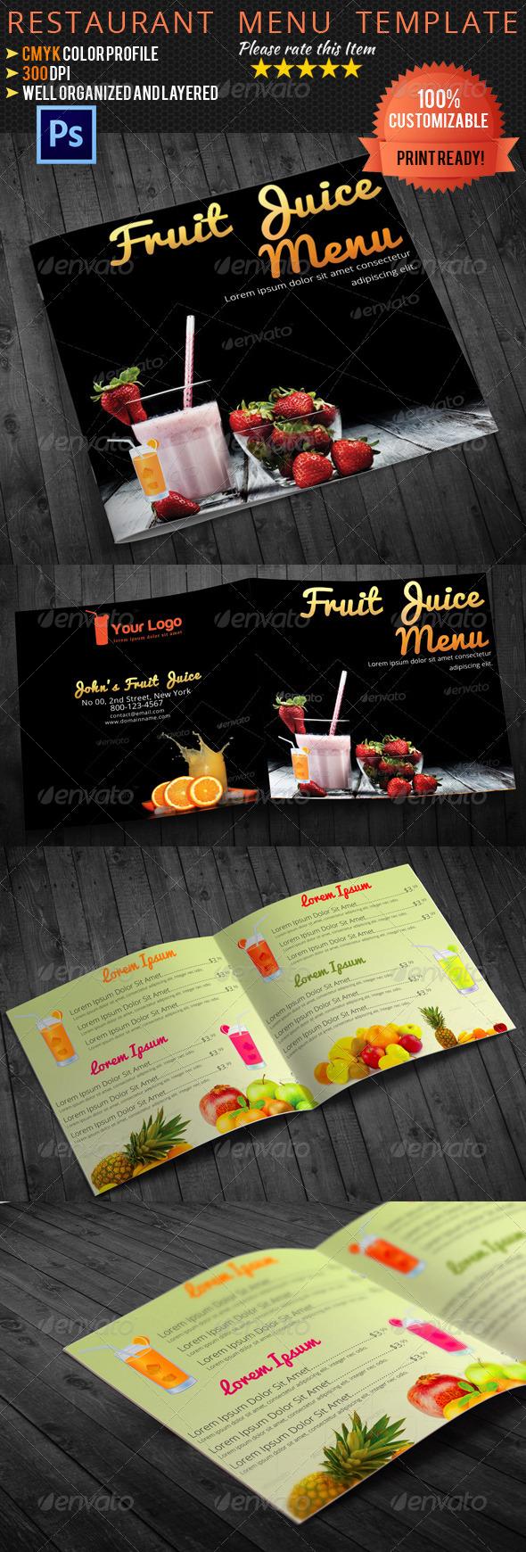 GraphicRiver Bi-fold Square Fruit Juice Menu Template 5109900