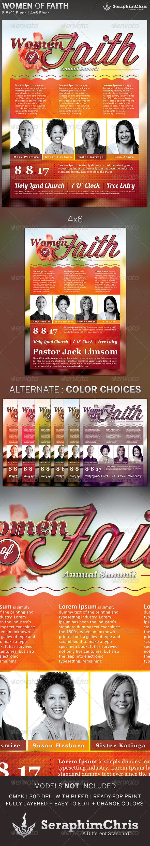 GraphicRiver Women of Faith Church Flyer Template 5109990