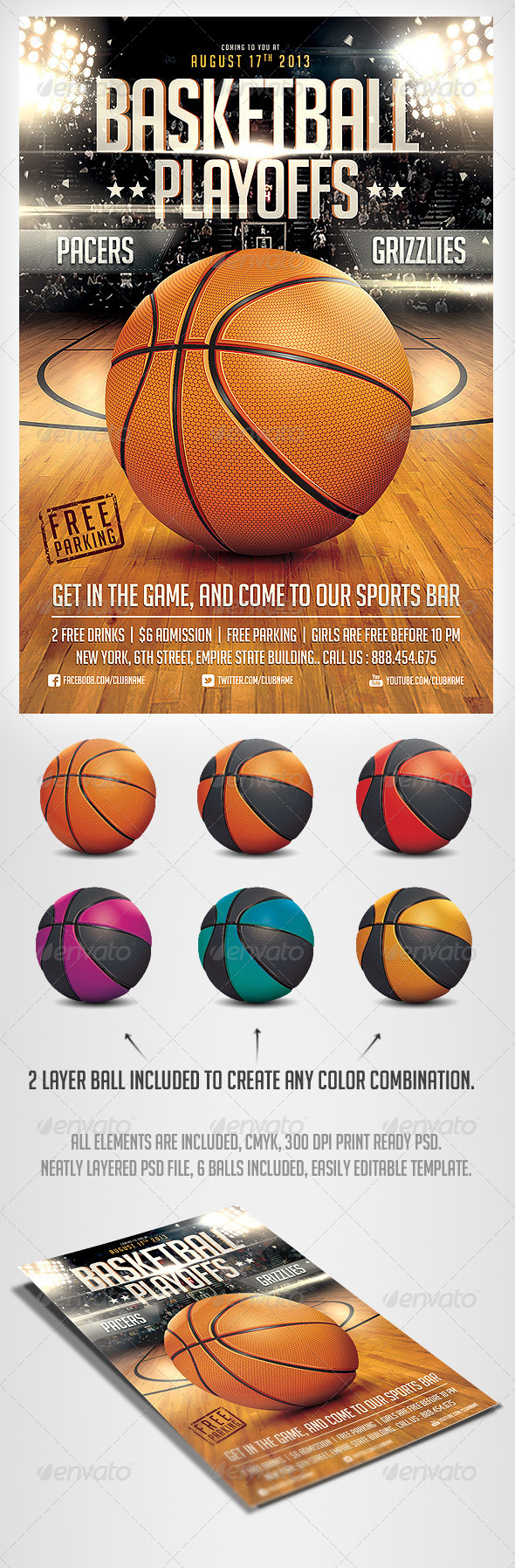 GraphicRiver BasketBall Game Flyer Template 5055755