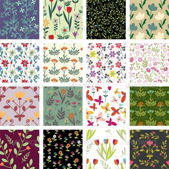 GraphicRiver 16 Floral Patterns 5110747
