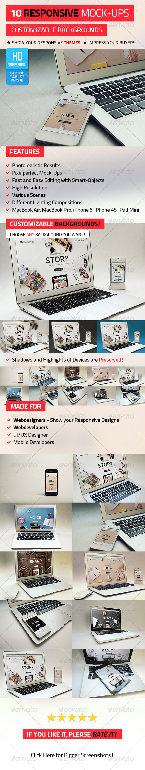 10 Responsive Mock-Ups - Displays Product Mock-Ups