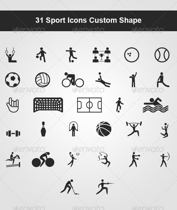 GraphicRiver 31 Sport Icons Custom Shape 5110925