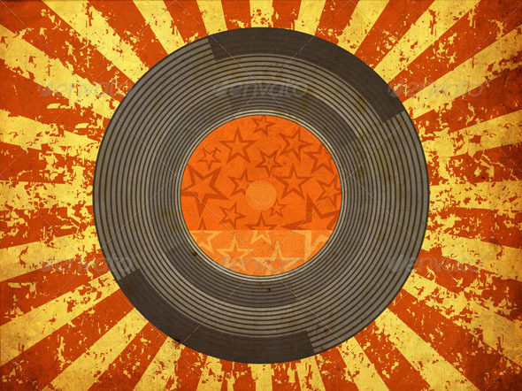 GraphicRiver Vintage Musical Background with Vinyl LP 5111075