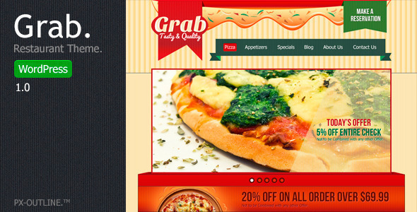 Grab Restaurant - WordPress Theme - Restaurants & Cafes Entertainment