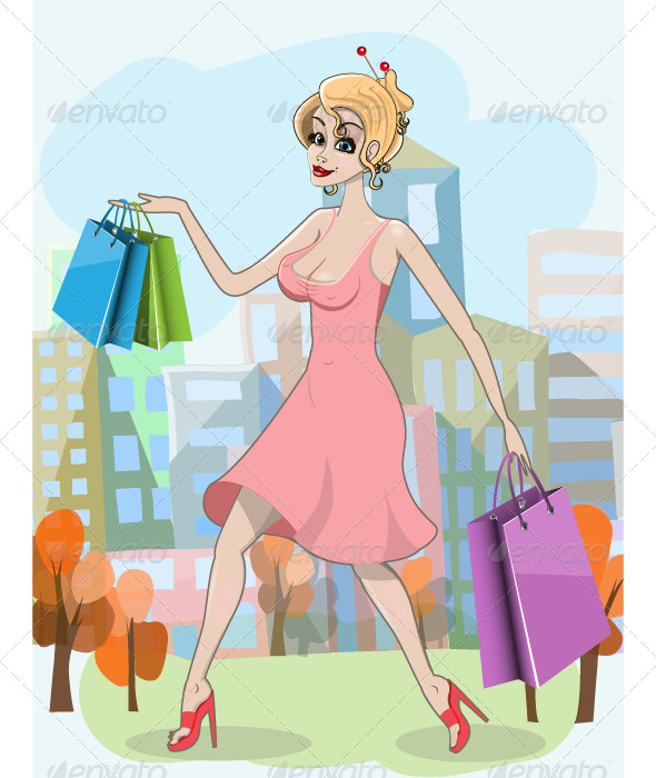 GraphicRiver Woman with Shopping Bags 5111588