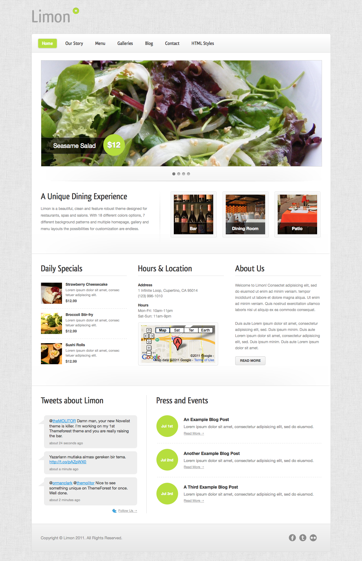 Limon - A Restaurant and Spa Theme - Homepage - Featuring 2 distinct slider options, twitter feed, and more.