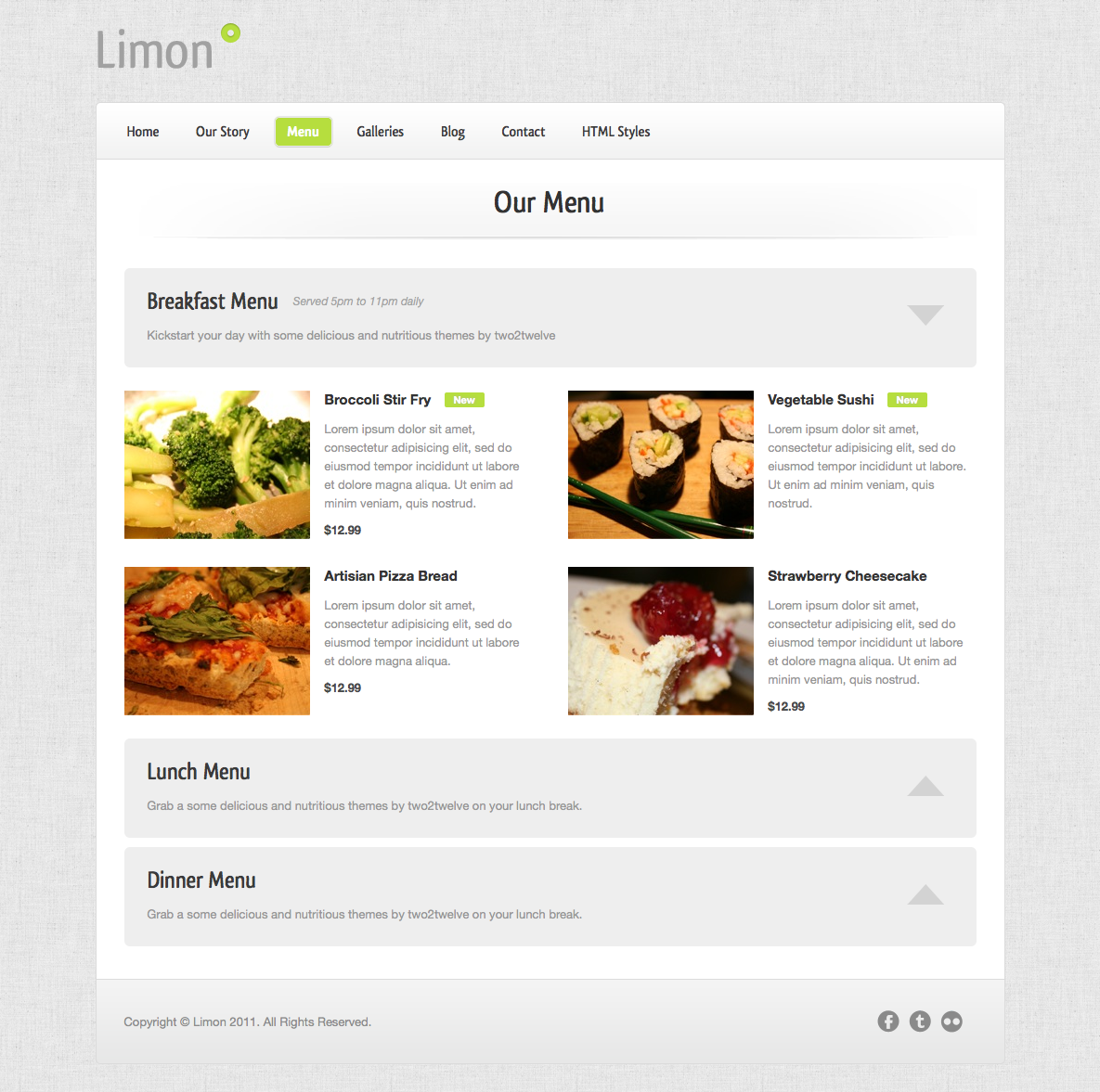 Limon - A Restaurant and Spa Theme - Menu - A variation on Menu 1 with smaller images and an accordion sub-nav to the right.