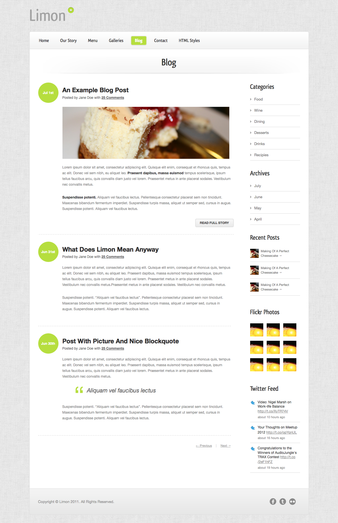 Limon - A Restaurant and Spa Theme - Blog - Beautifully designed blog post layouts with a feature-packed sidebar.