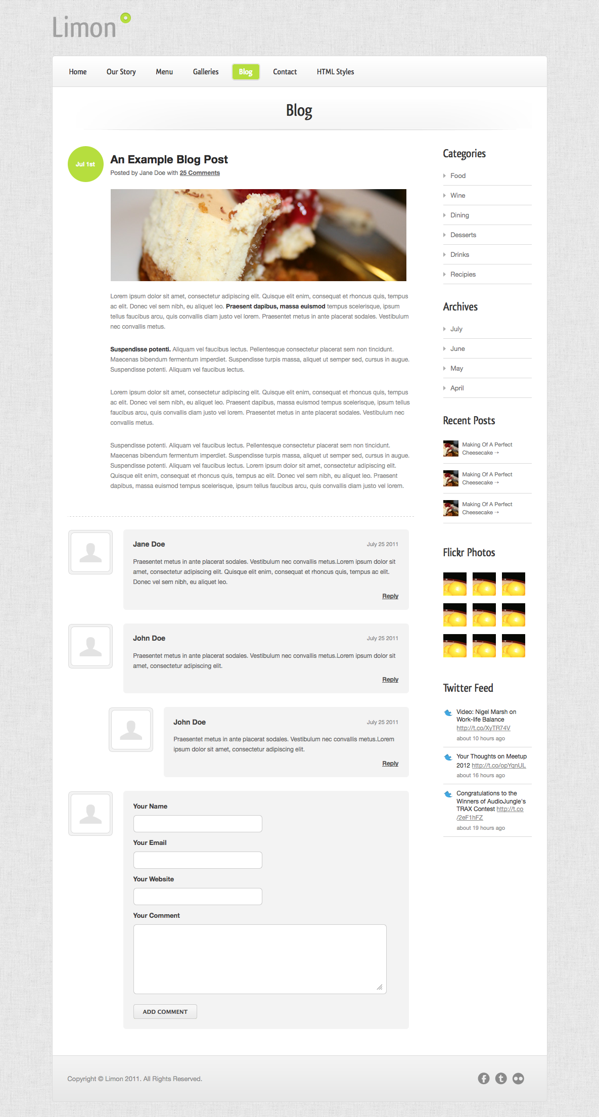 Limon - A Restaurant and Spa Theme - Blog Item - Threaded comments and a feature-packed sidebar.