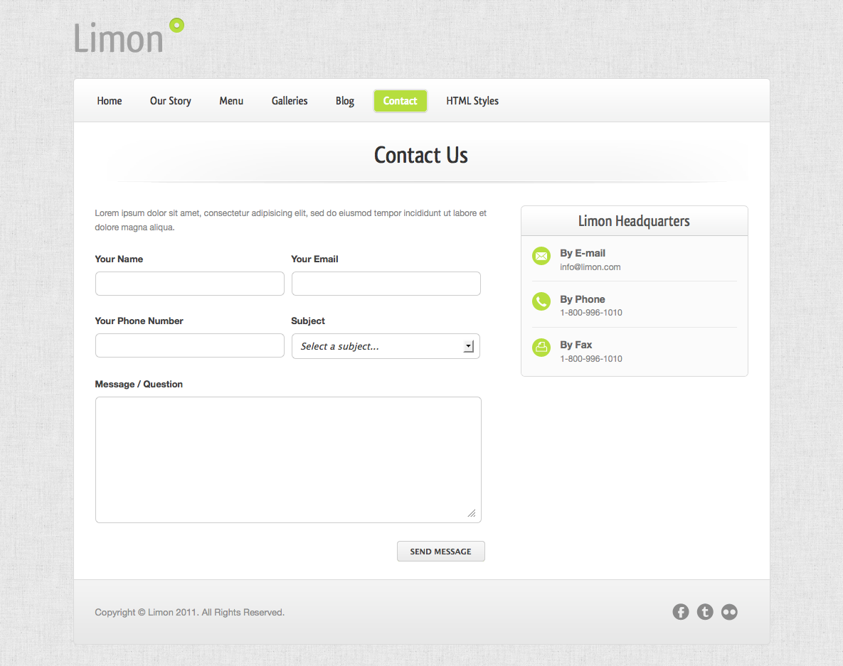 Limon - A Restaurant and Spa Theme - Contact - Working contact form with Ajax validation.