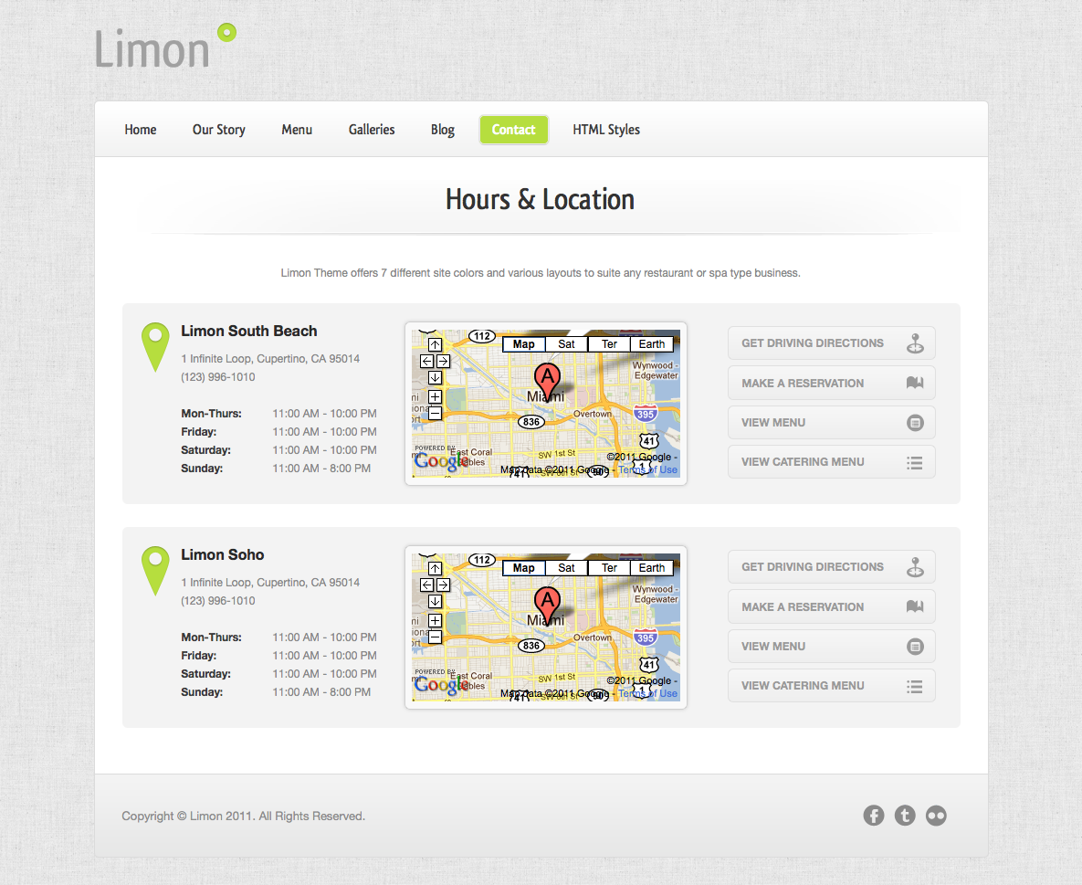 Limon - A Restaurant and Spa Theme - Hours & Location - Google maps integration.