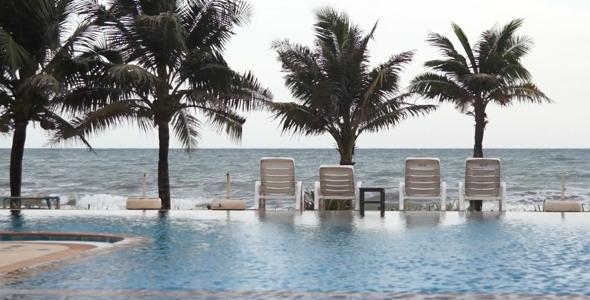 Swimming Pool Seaside of Luxury Hotel