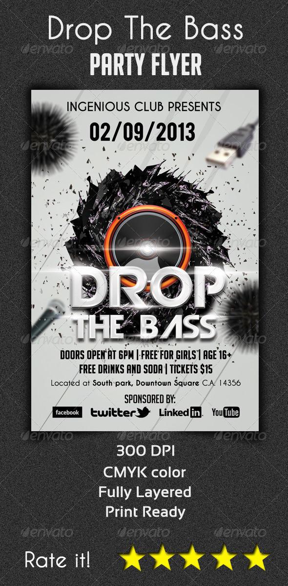 Drop The Bass Flyer Template - Clubs & Parties Events