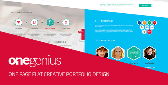 ThemeForest OneGenius One Page Flat Portfolio PSD Template 5109992