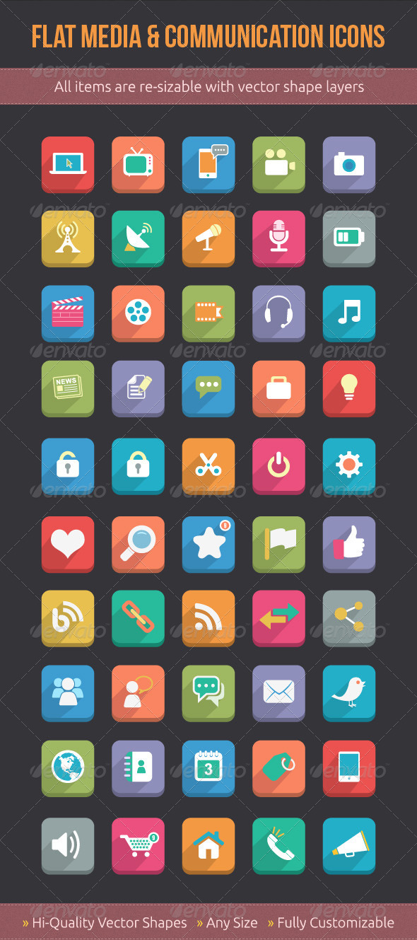 GraphicRiver Flat Media & Communication Icons 5114336