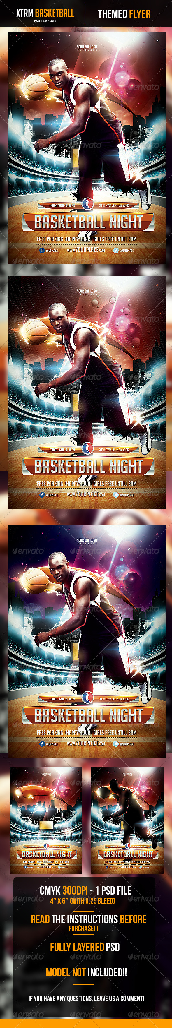 XTRM Basketball Night Flyer Template - Sports Events