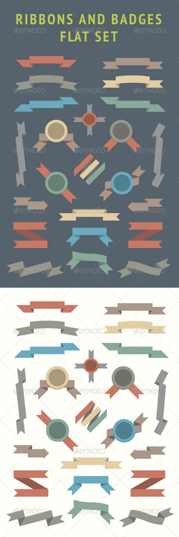 GraphicRiver Flat Ribbons and Badges Set 5115469