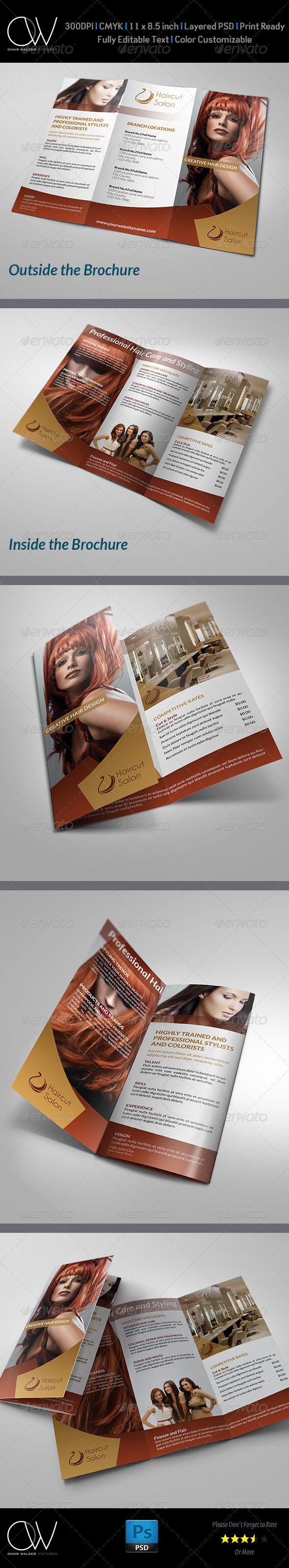 Hair Stylist & Salon Tri-Fold Brochure - Brochures Print Templates