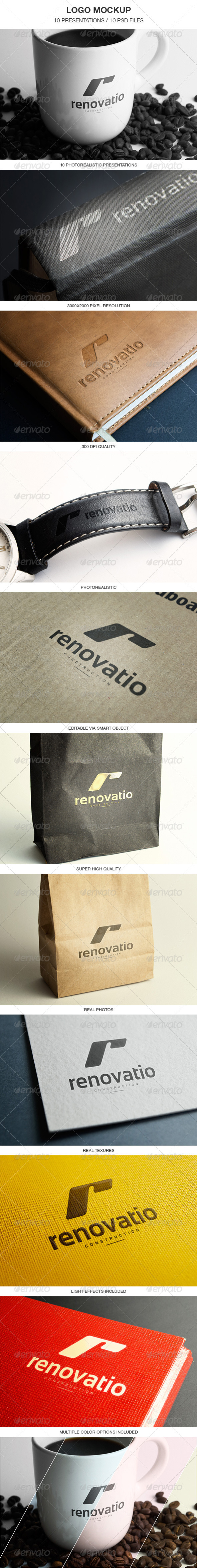 GraphicRiver 10 Photorealistic Logo Mockups 5099679