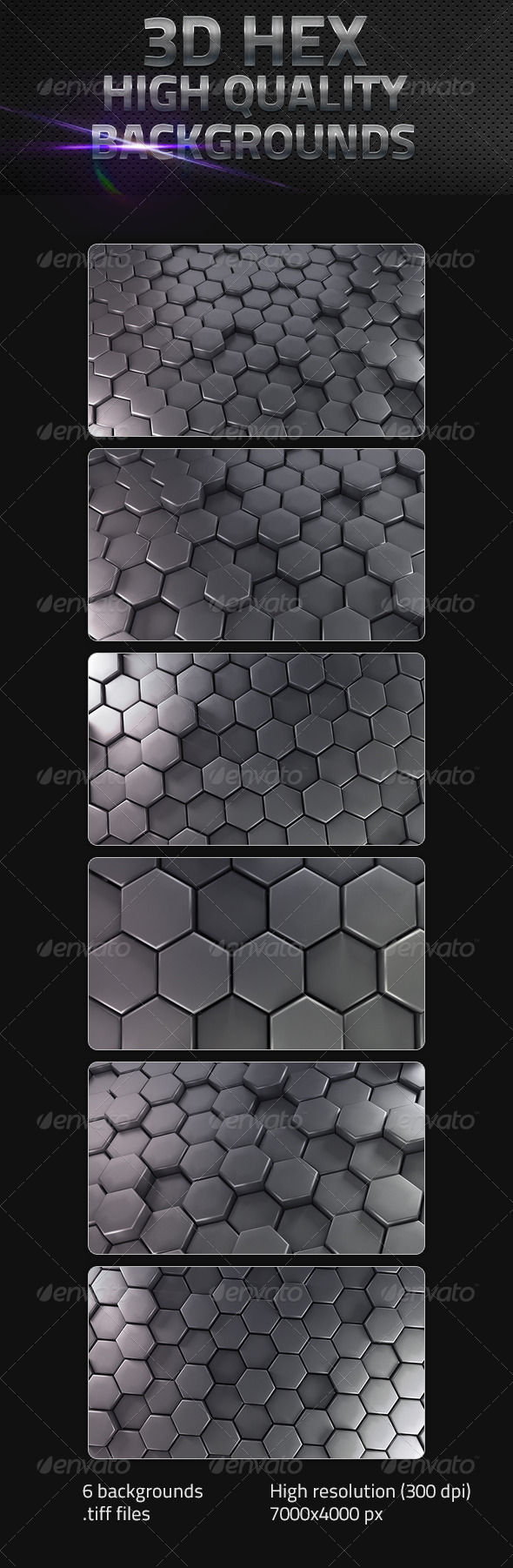 GraphicRiver 3D Hex Backgrounds 5116844