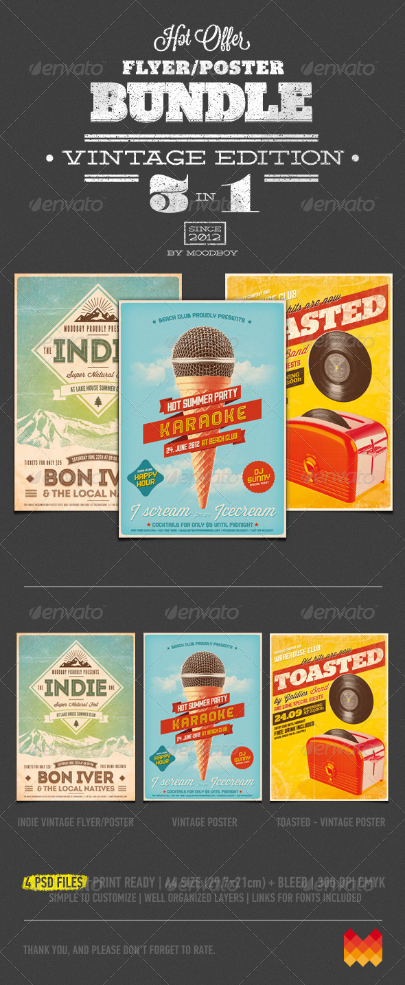 Vintage Flyers/Posters Bundle - Events Flyers
