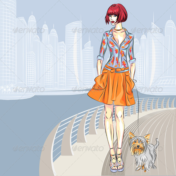 Girl Walking with Dog  - People Characters