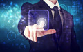 Businessman pushing icon button - PhotoDune Item for Sale