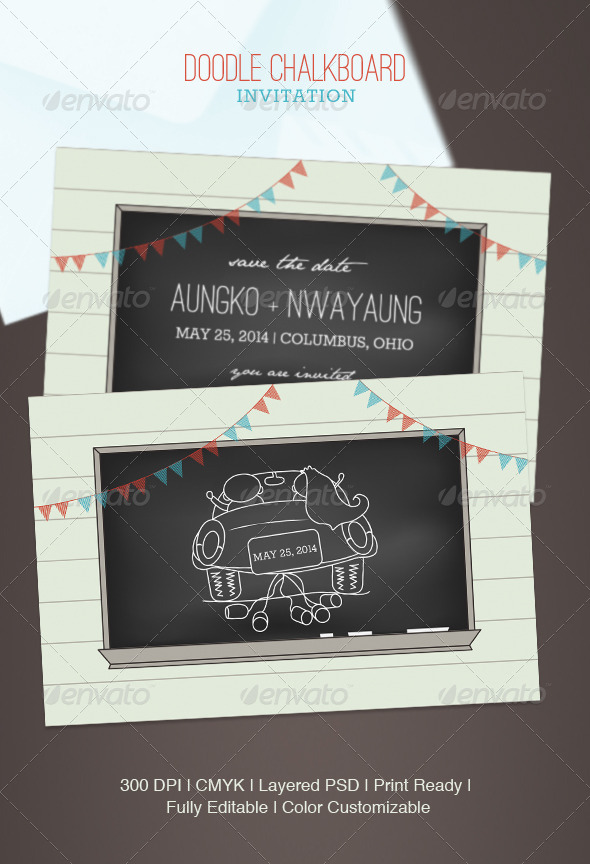 GraphicRiver Doodle Chalkboard Invitation 5041763