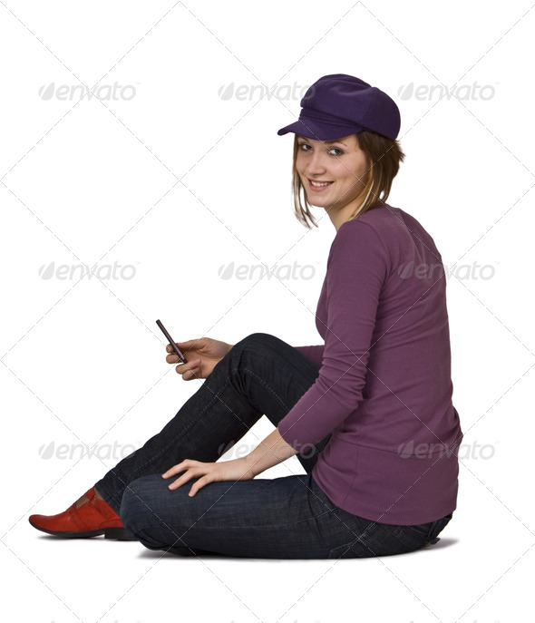 Woman with a Phone - Stock Photo - Images