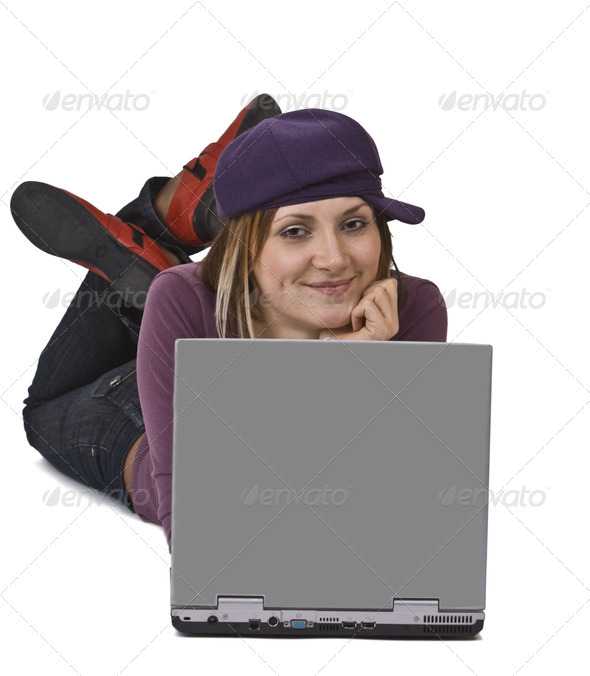 Working on a Computer  - Stock Photo - Images