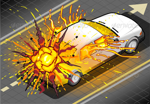 GraphicRiver Isometric White Car Explosion in Rear View 5119924