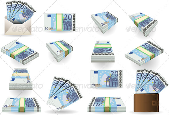 GraphicRiver Full Set of Twenty Euros Banknotes 5119952